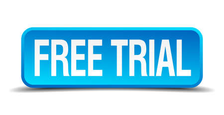 free trial blue 3d realistic square isolated button Vektorové ilustrace