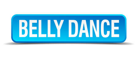 3d dance: belly dance blue 3d realistic square isolated button