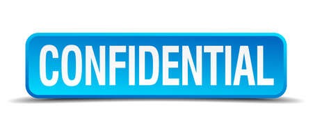 confidentially: confidential blue 3d realistic square isolated button