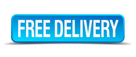 free delivery blue 3d realistic square isolated button Vector