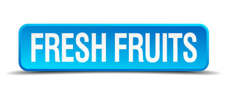 fresh fruits blue 3d realistic square isolated button Vector