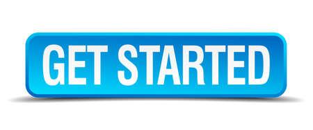 recruter: commencer bleu 3d r�aliste bouton isol� carr�