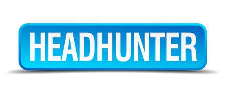 headhunter: headhunter blu 3d pulsante quadrato realistico isolato