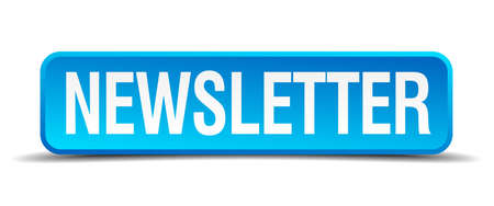 newsletter blue 3d realistic square isolated button Vector