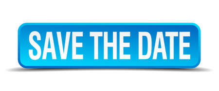 save the date blue 3d realistic square isolated button Vectores