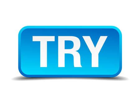 essayer: essayez bleu 3d r�aliste bouton isol� carr� Illustration