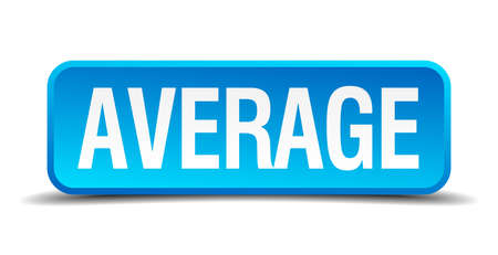 median: average blue 3d realistic square isolated button
