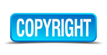 plagiarism: copyright blue 3d realistic square isolated button