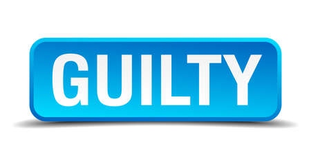 burgle: Guilty blue 3d realistic square isolated button