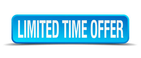 time square: limited time offer blue 3d realistic square isolated button Illustration