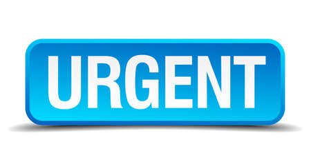 immediately: Urgent blue 3d realistic square isolated button