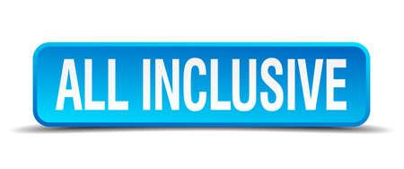 inclusive: all inclusive blue 3d realistic square isolated button