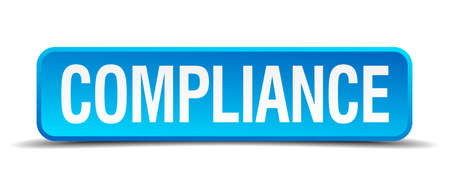 compliant: compliance blue 3d realistic square isolated button
