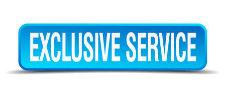 incompatible: exclusive service blue 3d realistic square isolated button