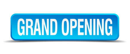 grand opening blue 3d realistic square isolated button Иллюстрация