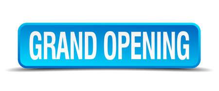 imposing: inaugurazione pulsante blu 3d quadrato realistico isolato