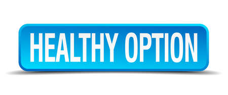 healthy option blue 3d realistic square isolated button Vector