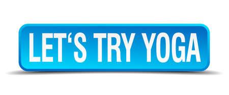 essayer: Essayons yoga bleu 3d r�aliste bouton isol� carr�