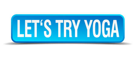 3d om: lets try yoga blue 3d realistic square isolated button