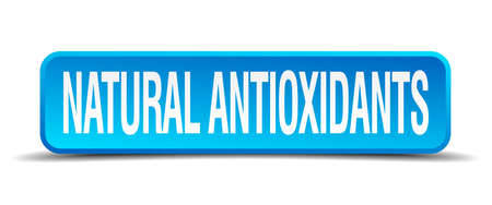 antioxidants: natural antioxidants blue 3d realistic square isolated button