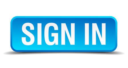 sign in: Registrieren in blau 3D realistisch Quadrat-Taste isoliert Illustration