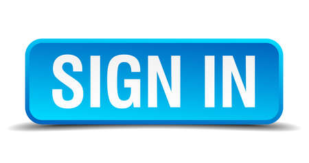 Sign in blue 3d realistic square isolated button 矢量图像