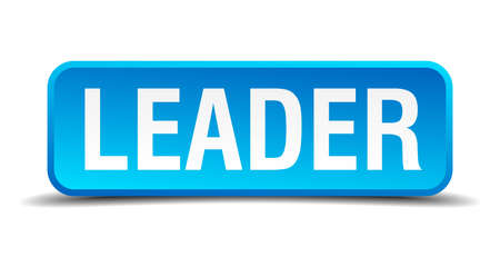 Leader blue 3d realistic square isolated button Vector
