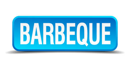 barbeque blue 3d realistic square isolated button Vector