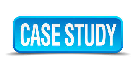 case study blue 3d realistic square isolated button