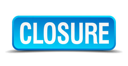 closure: closure blue 3d realistic square isolated button