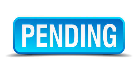 pending: Pending blue 3d realistic square isolated button