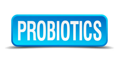 ibs: probiotics blue 3d realistic square isolated button Illustration