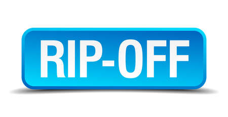 rip off: Rip off blue 3d realistic square isolated button