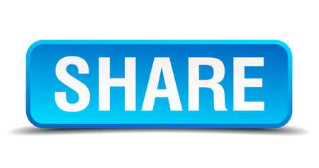 Share blue 3d realistic square isolated button Vector