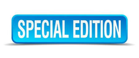 edizione straordinaria: Edizione speciale blu 3d pulsante quadrato realistico isolato Vettoriali