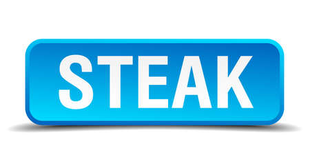 Steak blue 3d realistic square isolated button Vector