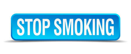 Stop smoking blue 3d realistic square isolated button Vector
