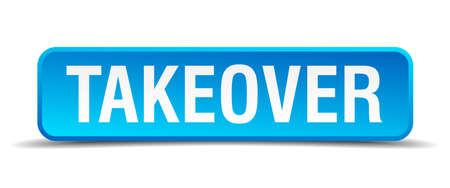 takeover: Takeover blue 3d realistic square isolated button