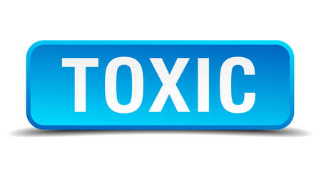 toxic substance: Toxic blue 3d realistic square isolated button Illustration