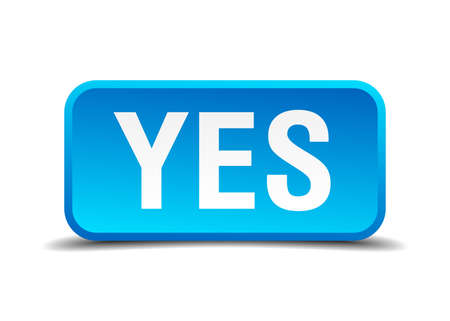 Yes blue 3d realistic square isolated button Illustration
