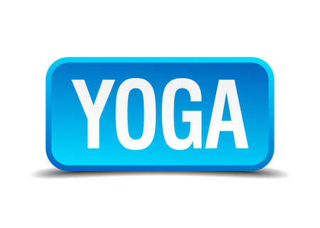 3d om: Yoga blue 3d realistic square isolated button