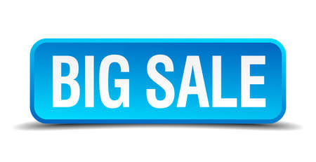 big sale blue 3d realistic square isolated button Vector