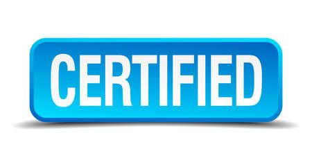 approbation: blu 3d pulsante isolato quadrato realistico certificato Vettoriali