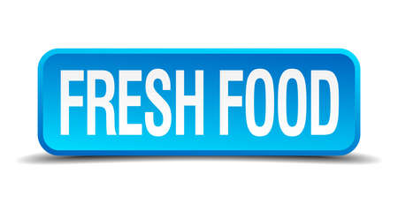 Fresh food blue 3d realistic square isolated button Vector