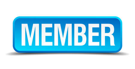 Member blue 3d realistic square isolated button Vector