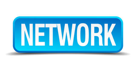 backlink: Network blue 3d realistic square isolated button Illustration