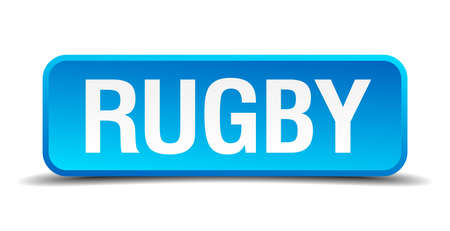 high school series: rugby blue 3d realistic square isolated button Illustration