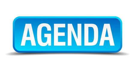 Agenda blue 3d realistic square isolated button Illustration