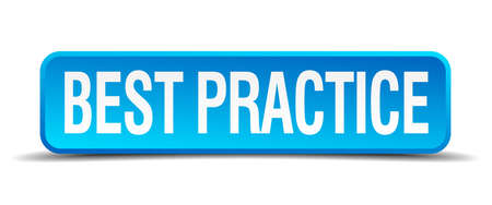 best practices: best practice blue 3d realistic square isolated button
