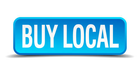 regional product: buy local blue 3d realistic square isolated button
